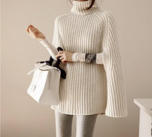 Load image into Gallery viewer, Fall poncho turtle neck knitted sweaters