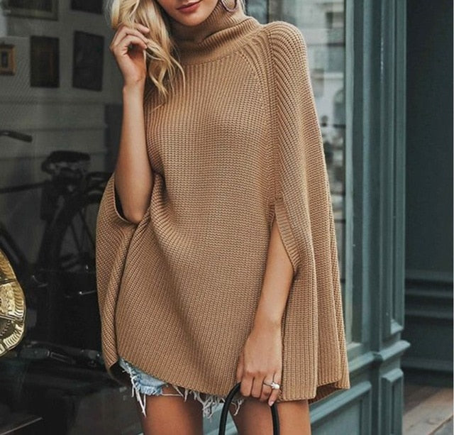 Fall poncho turtle neck knitted sweaters