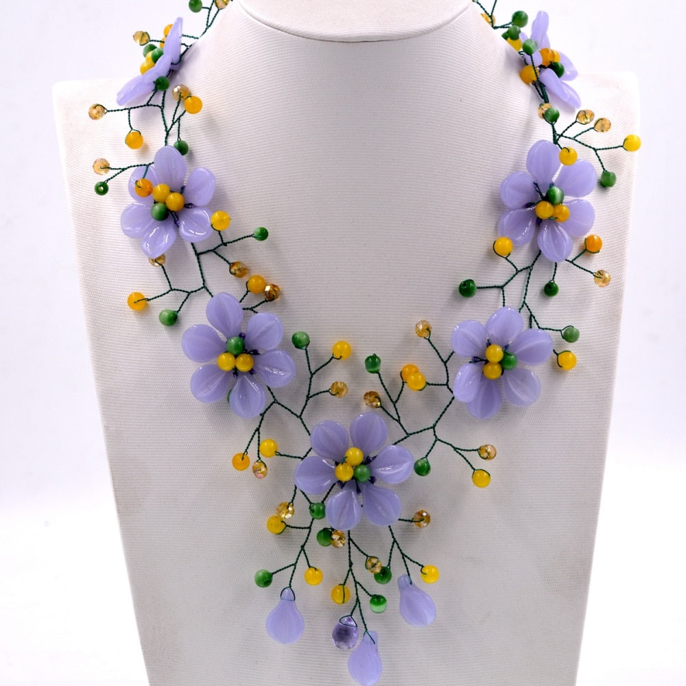 Noble Female Jewelry New Arrival purple stone yellow jades flower choker necklace