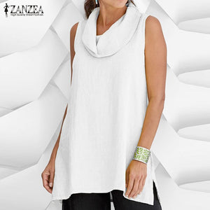 Plus Size Women Linen Blouse ZANZEA 2019 Summer Sleeveless Blusas Femme Irregular Chemise Female Cotton Shirts Tunic Tops 5XL