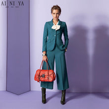 Load image into Gallery viewer, Romanian turquoise straight trousers formal pant suits for weddings womens business suits female trouser suits