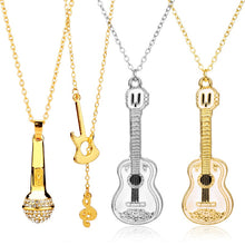 Load image into Gallery viewer, Microphone Crystal Chain Necklace Rapper Headphone Music Note Guitar Charm