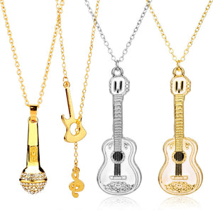 Microphone Crystal Chain Necklace Rapper Headphone Music Note Guitar Charm