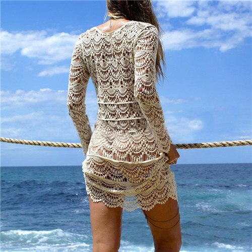New Hollow Out Sexy Beach Cover Up Lace Knitted Crochet Beach Tunics for Women Bikini Swimsuit Swimwear Bathing Suit Beachwear