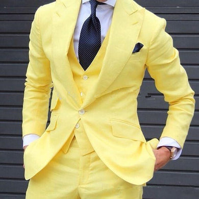 Yellow 3 Pieces French Double breasted Men Suits 2020 Custom Made Latest Coat Pant Designs