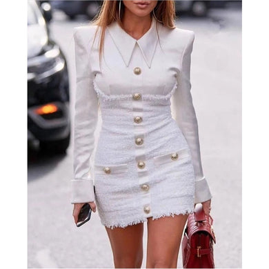 Women's Long Sleeve Satin Patchwork Tweed blazer Dress