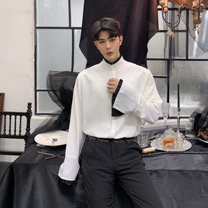 Stage Costumes Couple Clothing Men Ruffle Stand Collar Long Sleeve Casual Shirts Male Vintage Fashion Gothic Dress Shirts