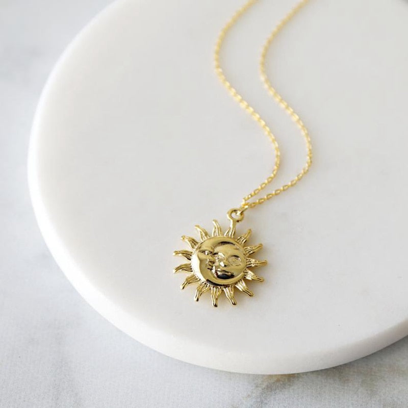 Bohemian Moon and Sun Face Pendant