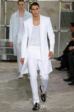 Summer Long Jacket White Trousers Groom Tuxedos