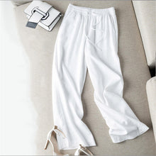 Load image into Gallery viewer, New Loose Large Size Wide Leg Pants Women Casual Straight Cotton Linen Pants Trousers Women Streetwear High Waisted Pants Q1680