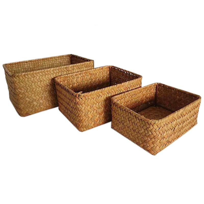 Natural Large Woven Seaweed Woven Wicker Basket Household Table Fruit Bread Towel Small Kitchen Storage Container Set