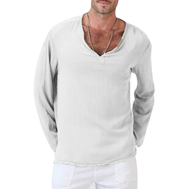 Men's Slim Pullover Long Sleeve Cotton