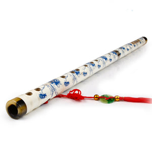 New Blue and White Porcelain Handmade Bamboo Wood Chinese Dizi Flute Musical Instruments Membrane Chinese