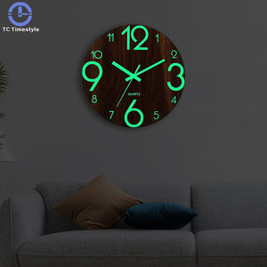 Wooden Wall Clock Luminous Number Hanging Clocks Quiet Dark Glowing Wall Clocks Modern Watches Decoration For Living Room