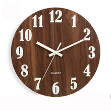Load image into Gallery viewer, Wooden Wall Clock Luminous Number Hanging Clocks Quiet Dark Glowing Wall Clocks Modern Watches Decoration For Living Room