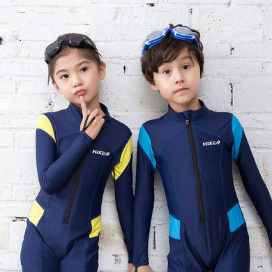 Hisea seac kid children lycra wetsuit rashguard surf clothing Sunscreen swimsuit warm children swimwear