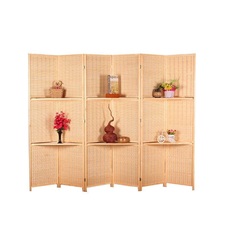 6 Panel Hinged Screen Room Divider Bamboo Privacy Screen