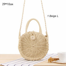 Load image into Gallery viewer, Round Straw Bag Woven Rattan Bag Ladies Bags Travel Small Beach Handbags Women Summer Hollow Handmade Beachbag Shoulder Bags