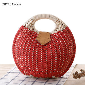 Round Straw Bag Woven Rattan Bag Ladies Bags Travel Small Beach Handbags Women Summer Hollow Handmade Beachbag Shoulder Bags