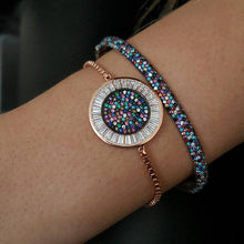 Load image into Gallery viewer, round disco charm micro pave baguette cubic zirconia cz rose gold color box adjust chain turkish teen girl gift eye bracelet