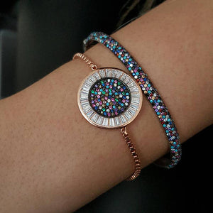 round disco charm micro pave baguette cubic zirconia cz rose gold color box adjust chain turkish teen girl gift eye bracelet