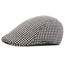 Load image into Gallery viewer, Size 58cm Irish Flat Cap for Men Plaid Newsboy Hat Women Winter Duckbill Cap Grey Brown