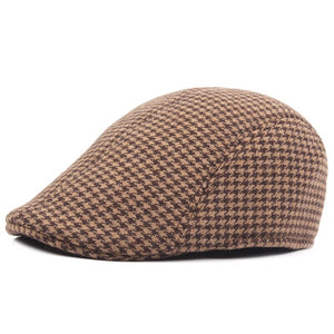 Size 58cm Irish Flat Cap for Men Plaid Newsboy Hat Women Winter Duckbill Cap Grey Brown
