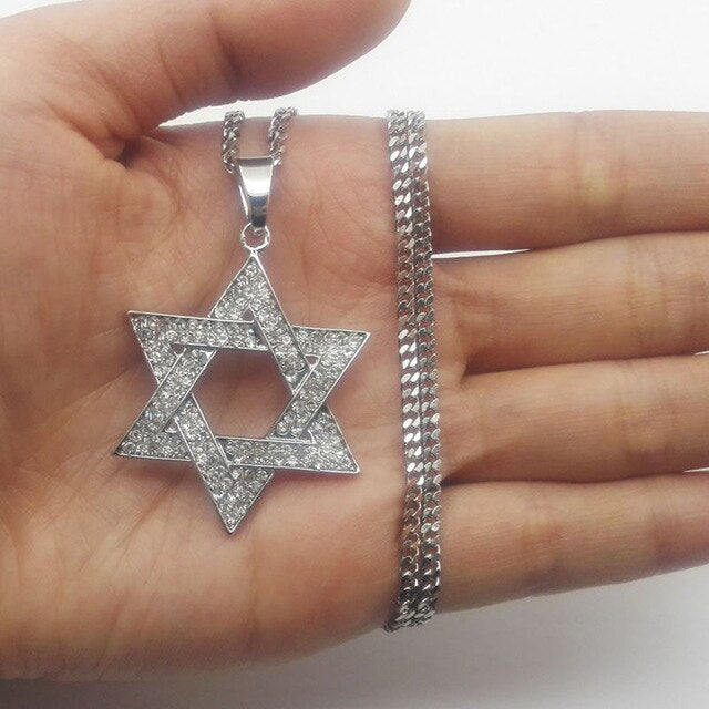 Crystal Star Hexagram Magen David Chain