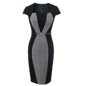 European Summer Women Retro Contrast Patchwork Belt Wear to Work Business vestidos Office Bodycon Pencil Female One Piece Dress Suit