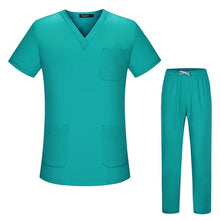 Load image into Gallery viewer, Unisex short-sleeved surgical clothing men and women doctors suits split brush uniform multiple colour suit pharmacist work sets