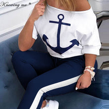 Load image into Gallery viewer, Women Boat Anchor Print Two Piece Set Tracksuit