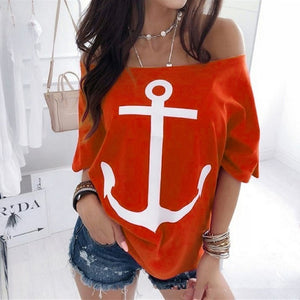 Women Boat Anchor Print Two Piece Set Tracksuit