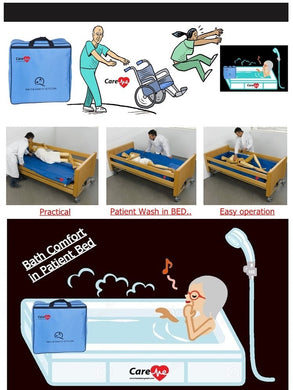 Patient cleaning in bed-medical home care bed-palliative care-patient washing at home-patient washing stretcher