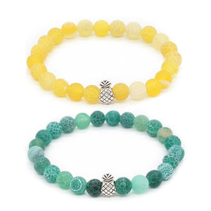 DropShipping Alloy Pineapple Charm Bracelets For Men And Women 8Mm Natural Stone Bracelets & Bangles Pulsera
