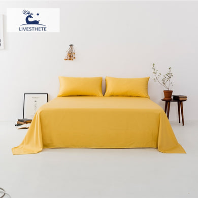 Liv-Esthete New 100% Silk Yellow Flat Sheet Linen Luxury Silky Bed Linen Healthy For Skin Pillowcase Queen King For Women Men