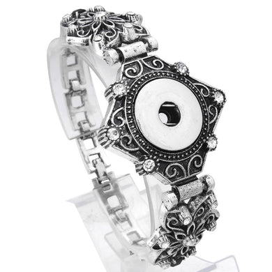 Vintage Metal Snap Button Bracelet for Men Women Rhinestone Silver Snap Bracelet Bangles Fit 18mm Snap Buttons Jewelry