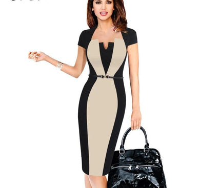 New Elegant Short Sleeve Office Work Dress