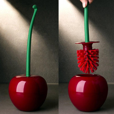 Hot Sale Creative Lovely Cherry Shape Lavatory Brush Toilet Brush Holder Set Red Dropping Shipping