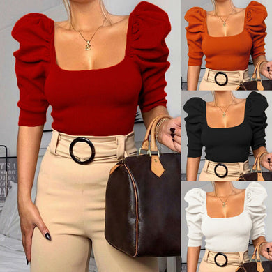 Puff Ruffle Casual Blouse Female Solid Color Fashionable Spring Shirts Outfits Party Clubwear