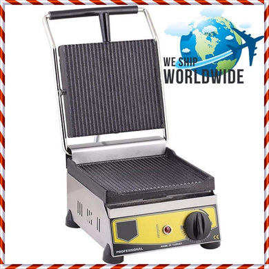 Non-Stick CAST IRON GROOVED ELECTRIC Restaurant Cafe Breakfast Panini Press Grill Toaster Sandwich Griddle Maker Machine 220V