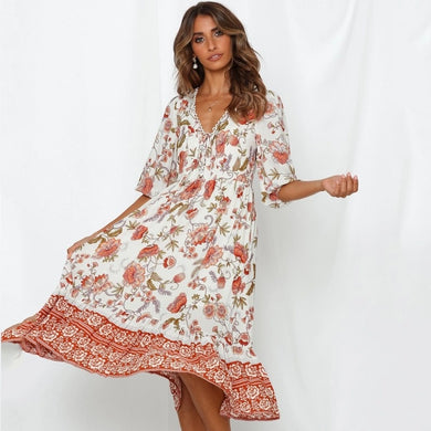 Gorgeous De Rui Lady Floral Print Summer Vestidos Dress