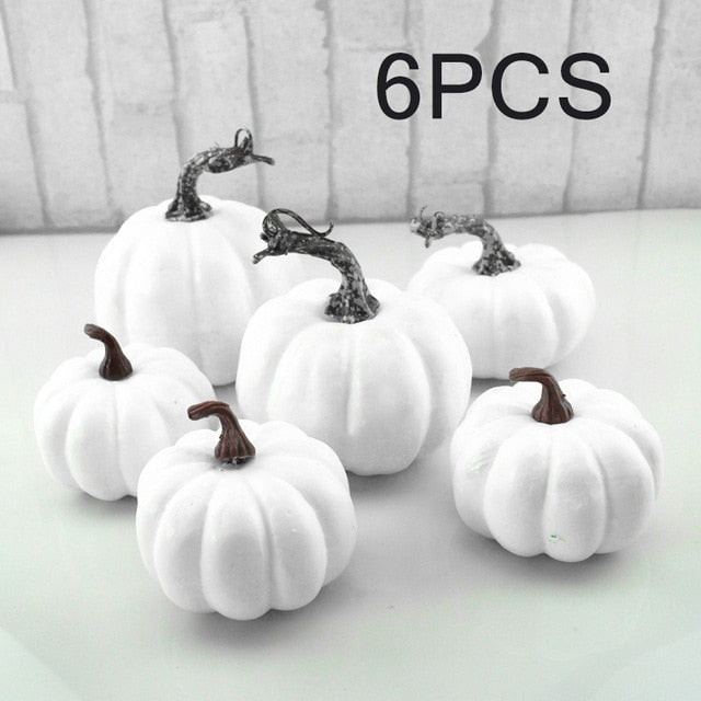 6/12Pcs set Halloween White Artificial Pumpkins Harvest Fall Harvest  Thanksgiving Home Decor Photography Props