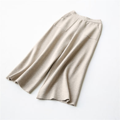 cotton wool blend knit women's wide leg pants ankle-length trousers