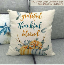 Load image into Gallery viewer, PATIMATE linen Thanksgiving Day Cushion Cover Welcome Autumn Happy Fall Pumpkin Thanksgiving Decoration