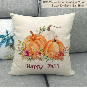 PATIMATE linen Thanksgiving Day Cushion Cover Welcome Autumn Happy Fall Pumpkin Thanksgiving Decoration