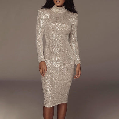 New Arrival Long Sleeve Sequin Turtleneck Bandage Dress