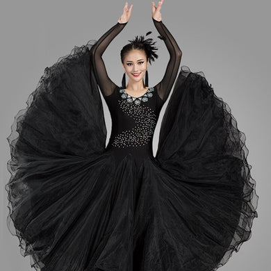 ballroom dance competition dresses standard dance dresses waltz dresses swing dance costumes long sleeves sequins dress fringe