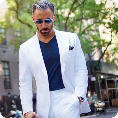 Peaked Design White Business Men Suits For Wedding Suit Men Casual Groom Tuxedo Classic Costume Mariage Homme Custom Made Blazer