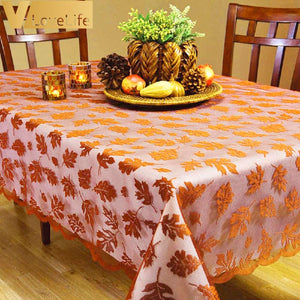 "60""x 84"" Thanksgiving Table Covers Decoration Golden Autumn Harvest Warp Knitting Lace Knit Tablecloth Home & Living Decor"