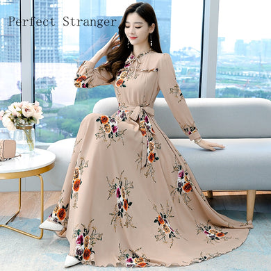 High Quality Elegant Stand Collar Long Sleeve Printed  Women Chiffon Long Dress